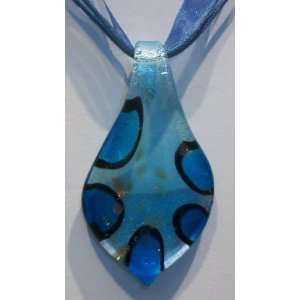 Brand new Murano Style Glass Pendant Necklace Leaf Blue