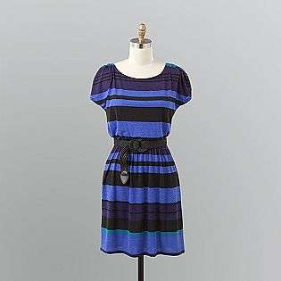 Striped Knit Belted Dress  Attention Clothing Womens Dresses