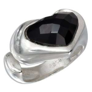 Silver Heart Shaped Faceted Onyx Stone Ring (size 07) Jewelry