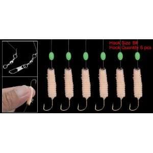 Como 6 Branches Design Fish Lure Bait Luminous Beads Hooks