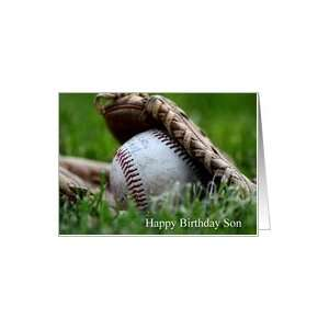 Happy Birthday Son, worn baseball in glove in grass Card