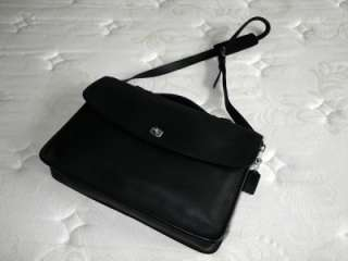 Coach Classic Vintage Retro Black Leather Business Portfolio Briefcase