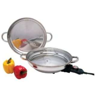 12 Inch Round Surgical Stainless Steel Electric Skillet at