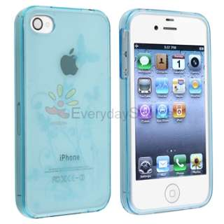 Clear Blue Flower Silicone Skin Cover Case For Iphone 4 4G 4Gs 4S