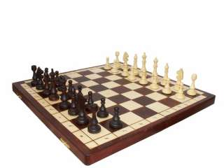 Hand Carved Wooden Polish Magnetic Chess Set   Large