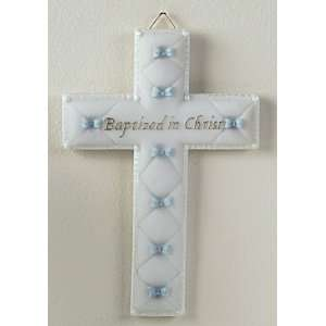 Christ Blue Ribbon Religious Boy Baptism Wall Crosses: Home & Kitchen