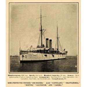 1907 Prin Semi proeced Cruiser Des Moines Ship Navy   Original