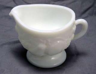 White Milk Glass Creamer with Raised Fruit Pattern