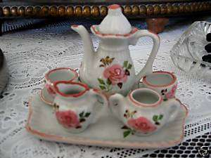 Dollhouse Miniature Porcelain Tea Set w Tray~Pink & Wht