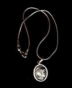 Vtg Artisan Silver 925 Greek Coin Pendant Necklace