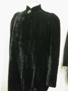 vtg 30s 40s Black Velvet Ladies Opera Coat