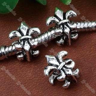 Navy Stamp Fleur De Lis European Beads Fit Charms Bracelet