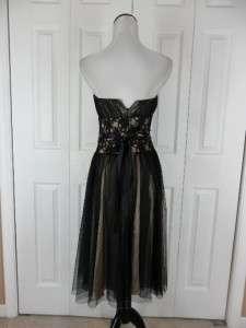 Market Size 0 Strapless Evening Gown Dress Black Gold Netting