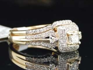 YELLOW GOLD PRINCESS CUT DIAMOND ENGAGEMENT RING BRIDAL WEDDING SET