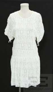 Isabel Marant White Cotton Animal Embroidery Short Sleeve Dress Size 2
