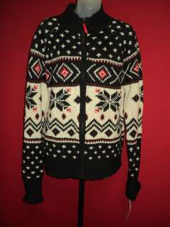 100% Lambswool Red White Blue Showflake Cardigan Ski Sweater XL TAGS