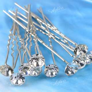 10pcs Clear Rhinestone Crystal Bead Bulk Hair Pins Clips Sticks