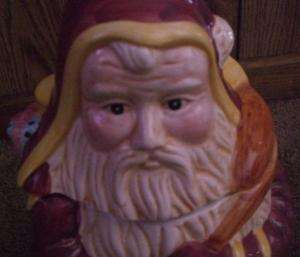 LOVELY HAND PAINTED FATHER CHRISTMAS COOKIE JAR 12 1/2