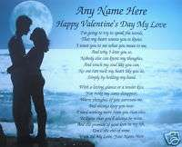 HAPPY VALENTINS DAY PERSONALIZED POEM GIFT WITH NAMES