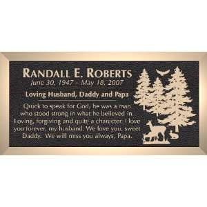 Deer Rabbit Bird Trees   Cast Bronze Memorial Grave Marker