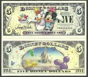 FIVE 5 DISNEY DOLLAR 2009 T SERIE CELEBRATE YOU MICKY