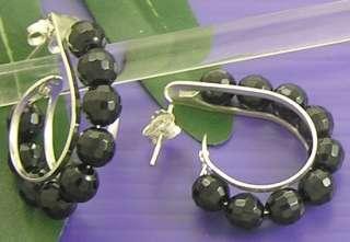Thai 925 Sterling Silver BLACK ONYX Lovely HOOP Post EARRINGS