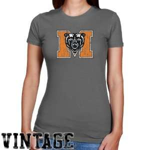 Mercer Bears Ladies Charcoal Distressed Logo Vintage Slim Fit T shirt