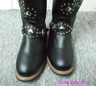 Punk Rock Emo Gothic studded black biker boots EUR34 44