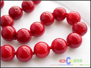 REAL 18 14MM NATUREL RED CORAL BEAD NECKLACE