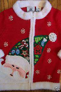 TIARA GIRLS RED FUZZY CHRISTMAS SANTA HAT SWEATER 2T