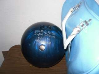 Vintage RETRO BRUNSWICK Triple CROWN BOWLING Ball HJ1286 & BAG Blue w