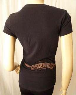 Womens Black Volcom Graphic T Shirt Rhinestones Top Surf Skate Size