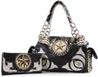 BLACK Western Star Rhinestone Encrusted Purse Wallet SET