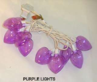 VALENTINES DAY HEART SHAPED STRING LIGHTS Set PURPLE Indoor Outdoor