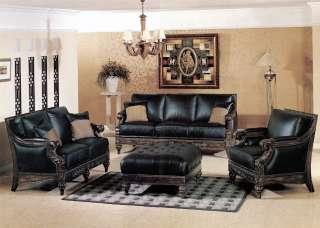 Wood Real Black Leather Sofa & Loveseat 2 Pc Living Room Set