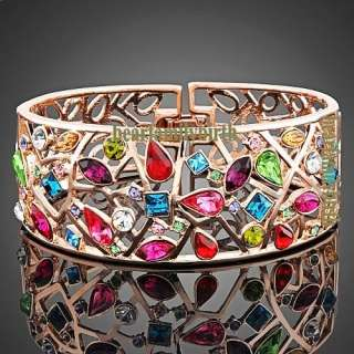 18k rose gold GP multi swarovski crystal wide bangle B30