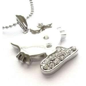 Kitty Clear Swarovski Crystal Necklace Pendant