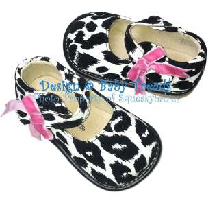 Shoes Toddler Black & White Mary Jane BRAND NEW Cow Print Hot Pink Bow