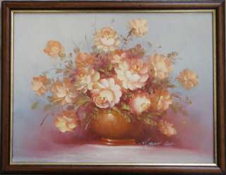 ROBERT COX framed OIL PAINTING flowers collectable