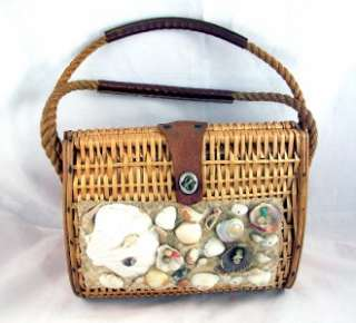 VINTAGE STRAW + SEA SHELLS Hand bag PURSE NR