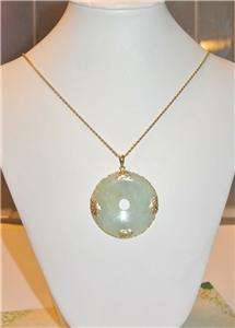 14K GOLD Asian Green JADE PENDANT w/ 14K GOLD ROPE CHAIN NECKLACE 14g