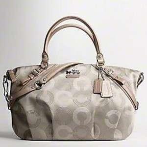 Madison Dot Op Art Sophia 15957 Handbag Tote Purse NWT Silver Khaki
