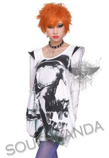 SC201 White Gothic Skull Stud T shirt Top Punk Ladies