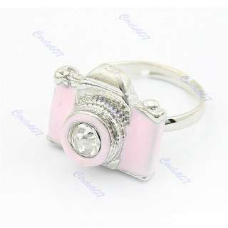 Fashion Exquisite Lady/Girl Rhinestone Camera Retro Adjustable Rings