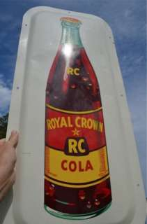 RC ROYAL CROWN COLA SODA DRINK OLD CONVEX BOTTLE SIGN RARE