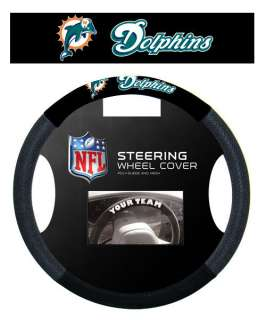 MIAMI DOLPHINS NFL SUEDE MESH CAR STEERING WHEEL COVER