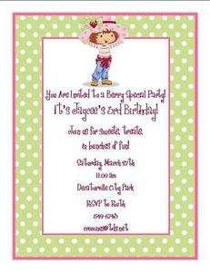 Personalized STRAWBERRY SHORTCAKE Birthday Invitations