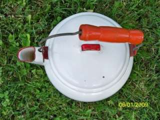 Vintage Retro Red/White Tea pot Kettle Enamel paint Red wood handle