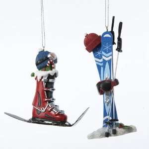 Club Pack of 12 Winter Ski Boot and Skis Christmas