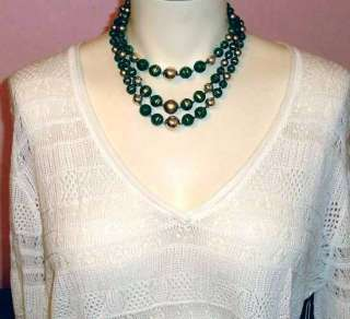 Vintage 1960s Multi Strand Green Gold Bead Necklace Estate Jewelry